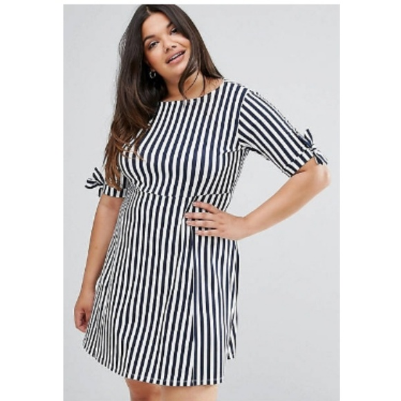 Plus Size Dress/ ASOS CURVE Navy and White Dress NWT